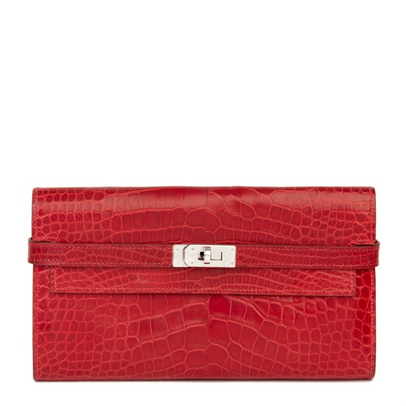 Hermès Braise Matte Mississippiensis Alligator Leather Kelly Long Wallet