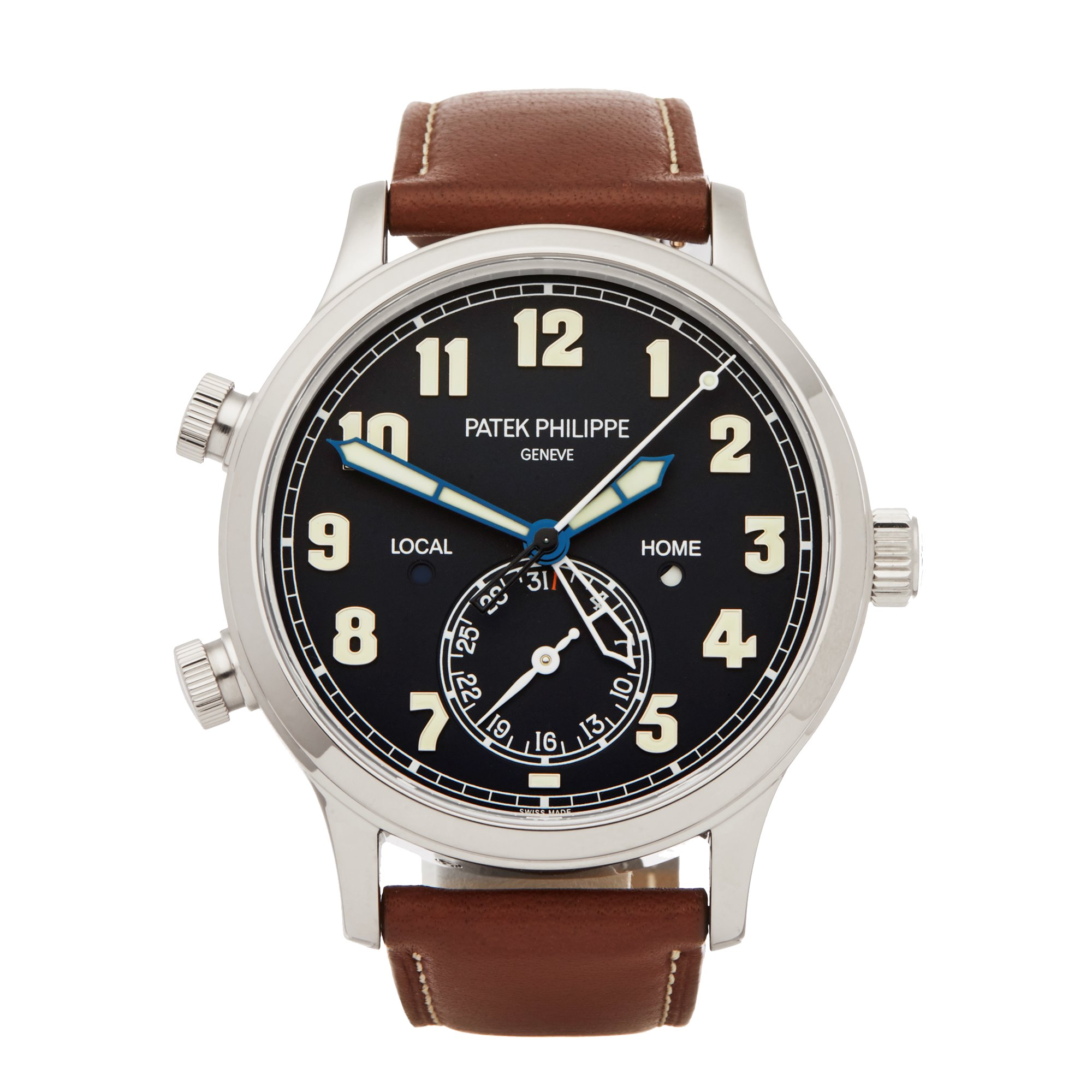 Patek Philippe Calatrava Pilot Travel Time 18K White Gold 5524G-001