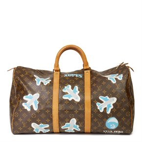 Louis Vuitton X Year Zero London Hand-painted  'Paper Plane$' Brown Monogram Coated Canvas Keepall 50