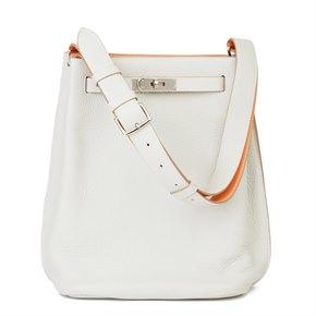 Hermès Gris Perle & Crevette Clemence Leather Eclat So Kelly 22cm