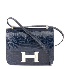 Hermès Bleu Saphir Shiny Mississippiensis Alligator Leather Constance 23