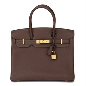 Hermès Chocolate Brown Togo Leather Birkin 30cm