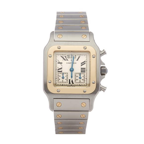 Cartier Santos Galbee Chronograph Stainless Steel & Yellow Gold - 2425 or W20042C403