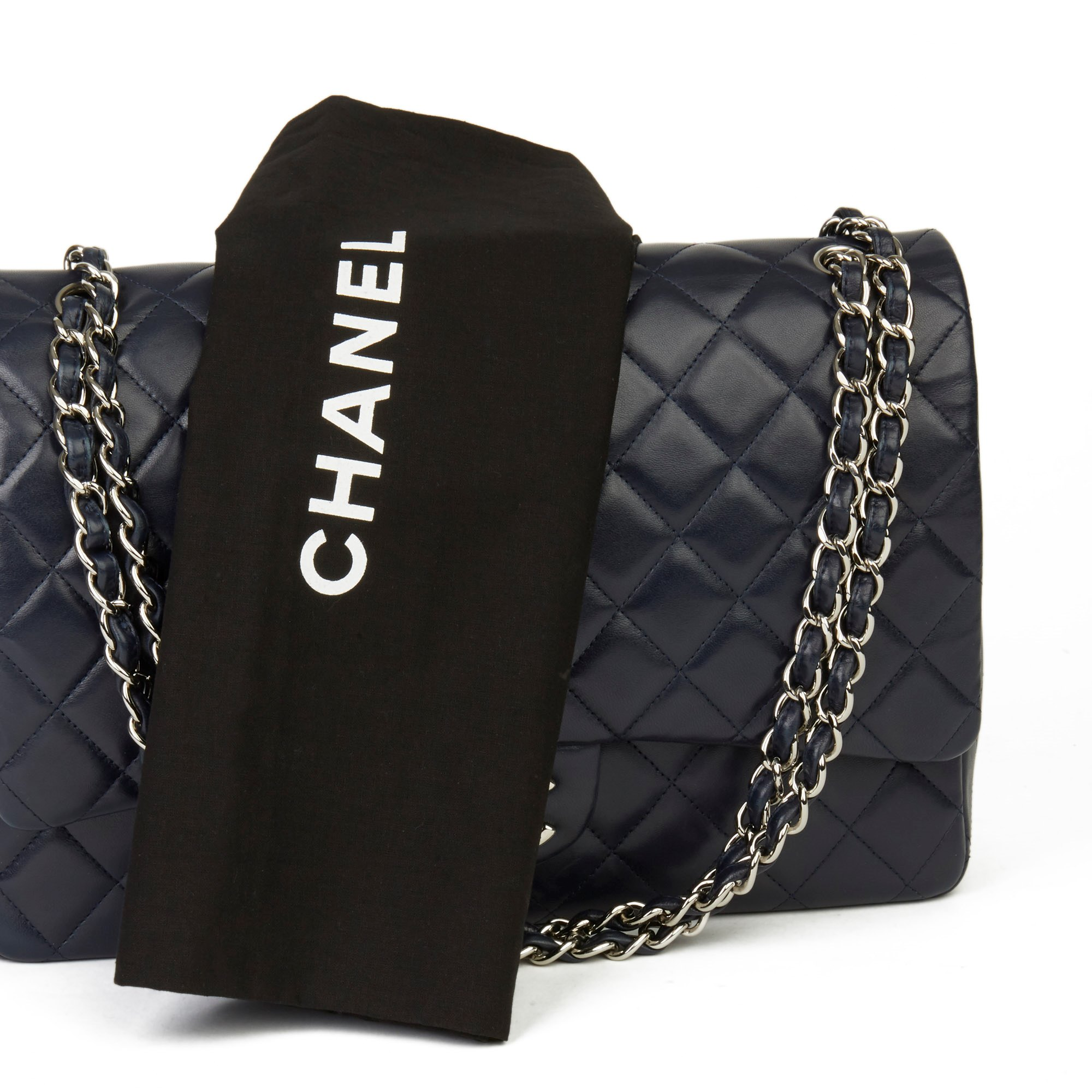 Chanel Navy Quilted Lambskin Maxi Classic Double Flap Bag