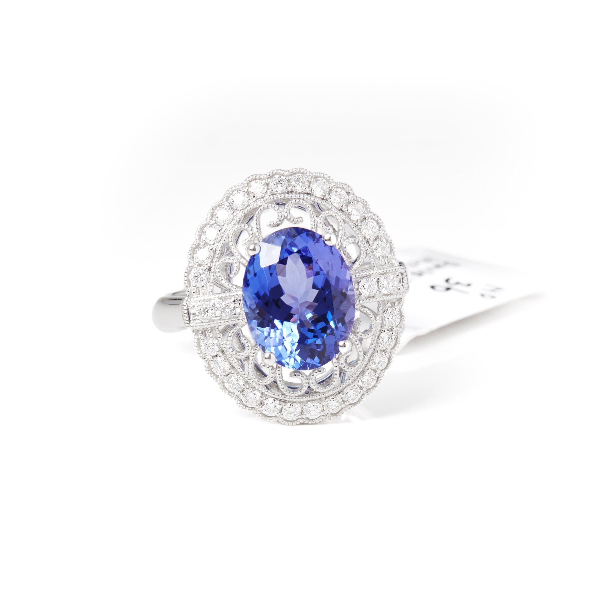 David Jerome 18k White Gold Tanzanite and Diamond Ring