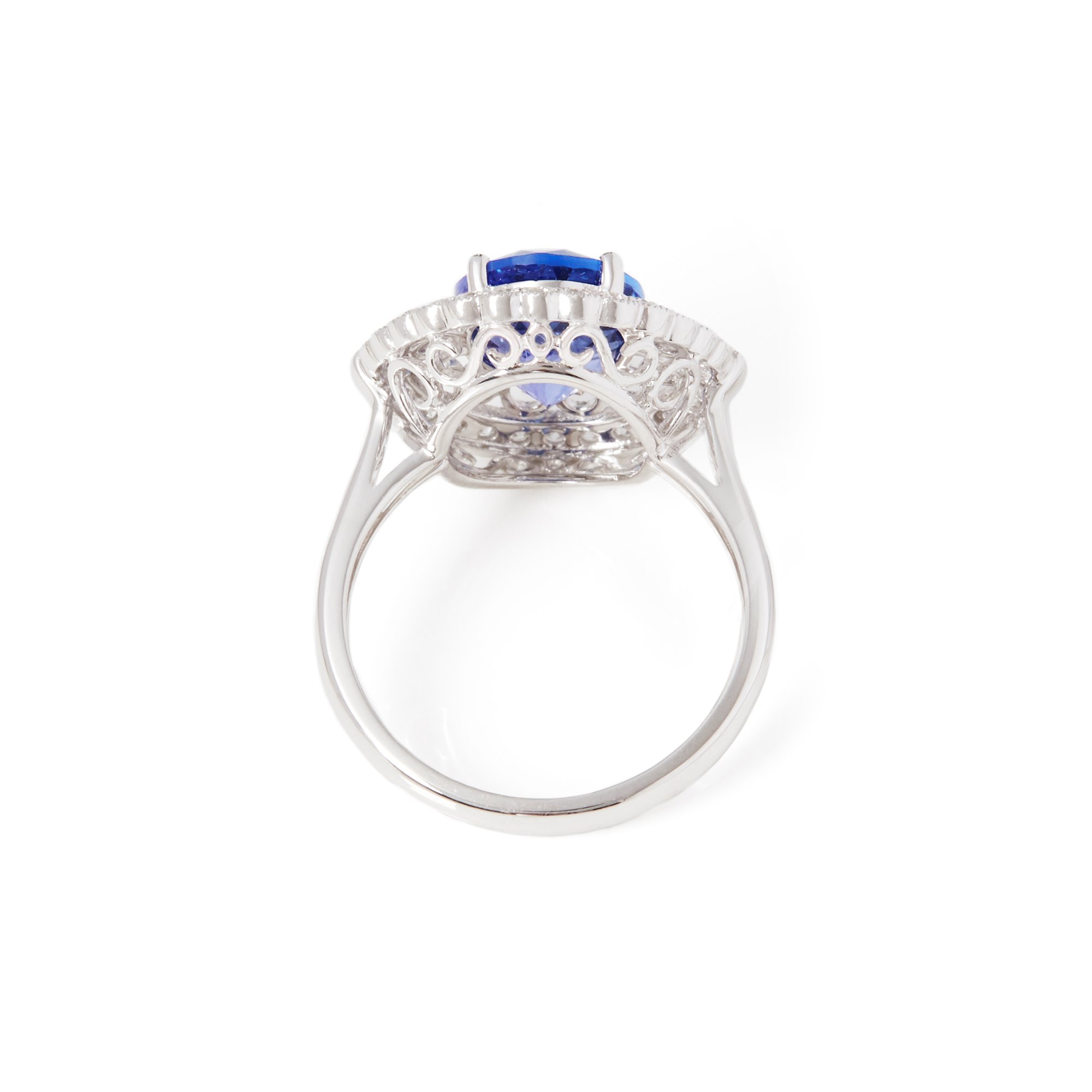 David Jerome Certified 3.96ct Oval Cut Tanzanite and Diamond 18ct Gold Ring