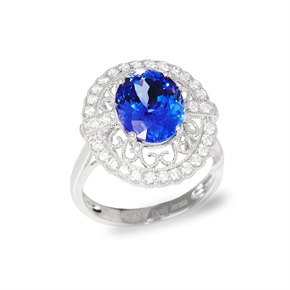 David Jerome Certified 3.96ct Untreated Oval Cut Tanzanite and Diamond Ring