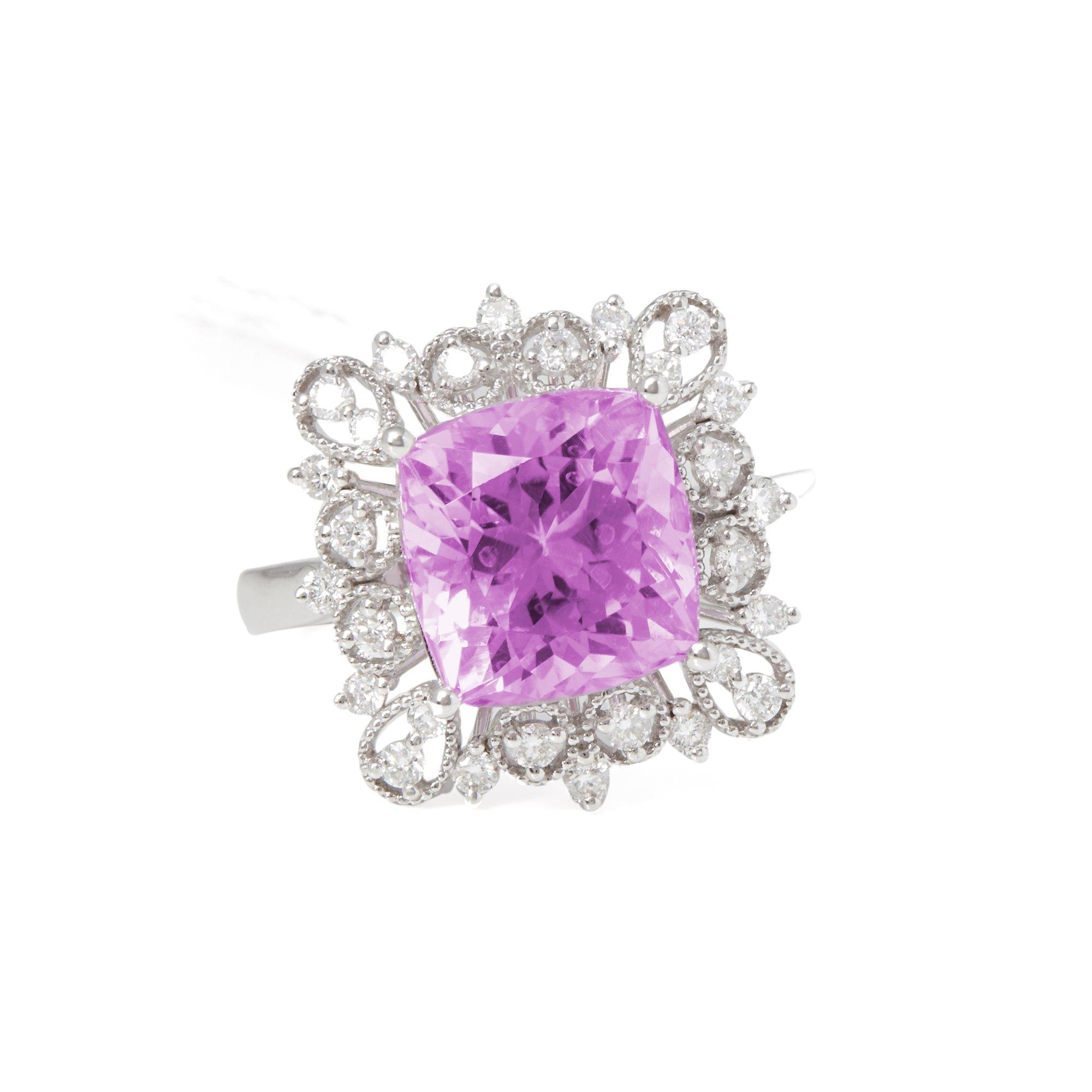 David Jerome Certified 5.91ct Cushion Cut Kunzite and Diamond 18ct Gold Ring