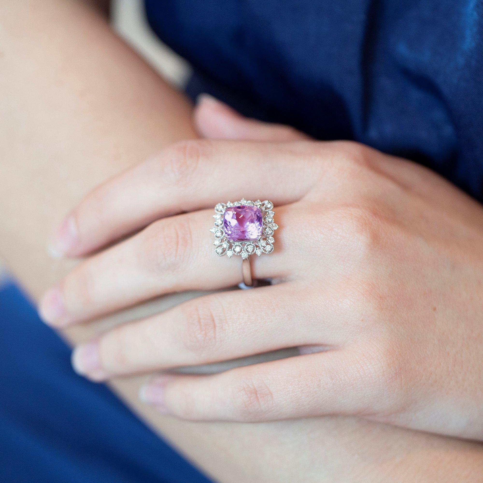 David Jerome 18k White Gold Kunzite and Diamond Ring