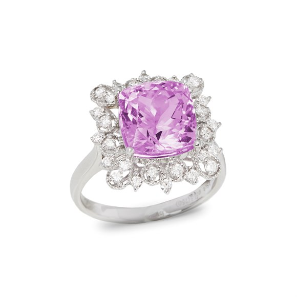 David Jerome Certified 5.91ct Cushion Cut Kunzite and Diamond 18ct Gold Ring