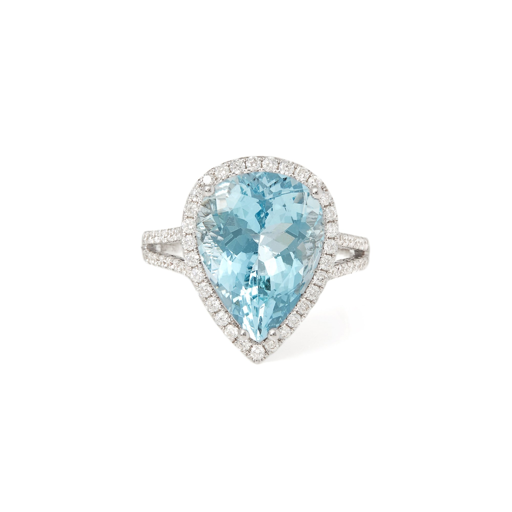 David Jerome Certified 6.66ct Untreated Brazillian Pear Cut Aquamarine and Diamond Ring