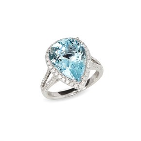 David Jerome Certified 6.66ct Brazillian Pear Cut Aquamarine and Diamond 18ct Gold Ring