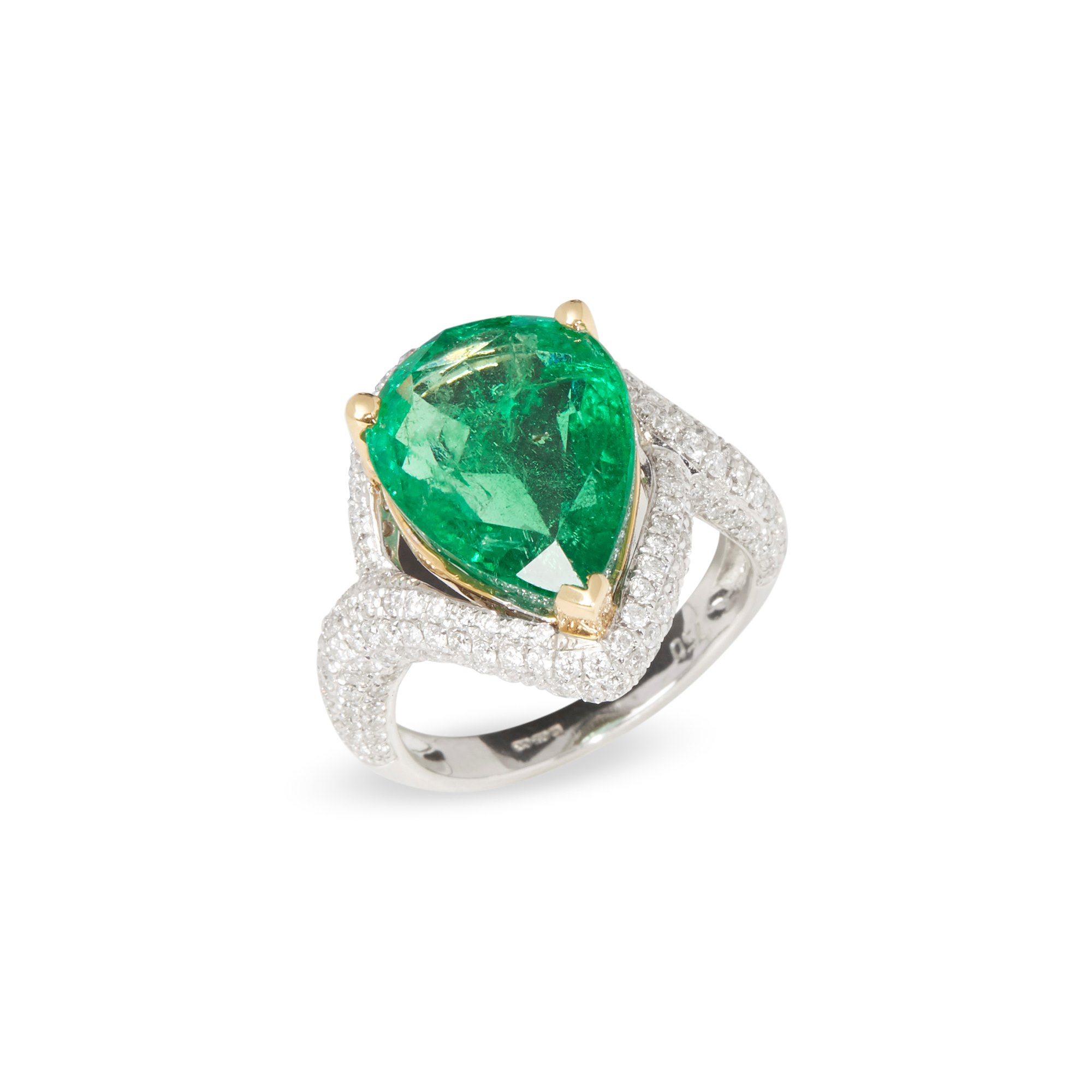 David Jerome Certified 7.04ct Untreated Columbian Emerald and Diamond 18ct Gold Ring