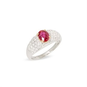 David Jerome Certified 1.21ct Untreated Mozambique Oval Cut Ruby and Diamond 18ct Gold Ring