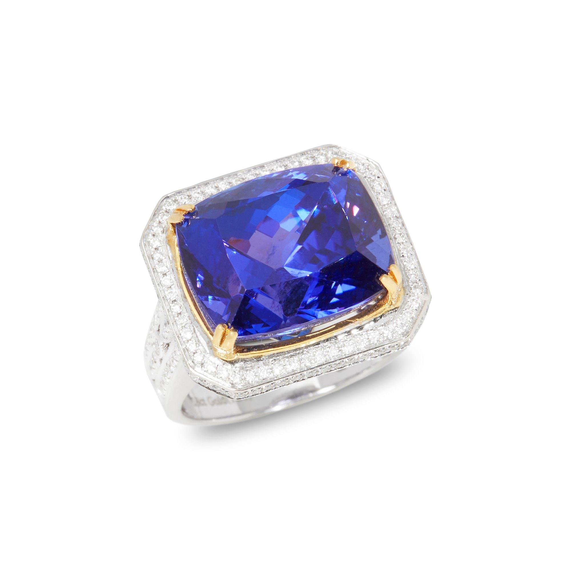 David Jerome Certified 15.2ct Cushion Cut Tanzanite and Diamond 18ct gold Ring