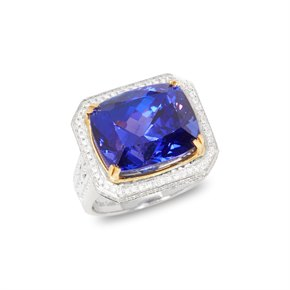 David Jerome Certified 15.2ct Cushion Cut Tanzanite and Diamond 18ct gold Ring