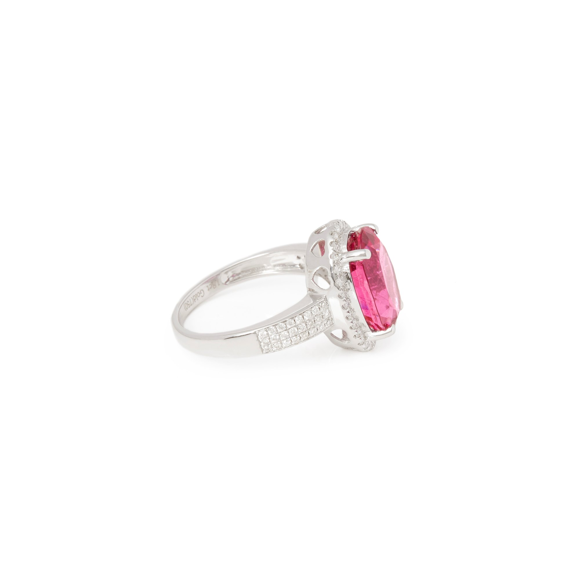 David Jerome Certified 5.81ct Untreated Brazillian Oval Cut Rubellite Tourmaline and Diamond Ring
