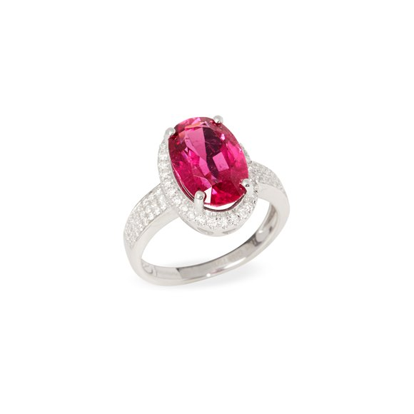 David Jerome 18k White Gold Rubellite Tourmaline and Diamond Ring