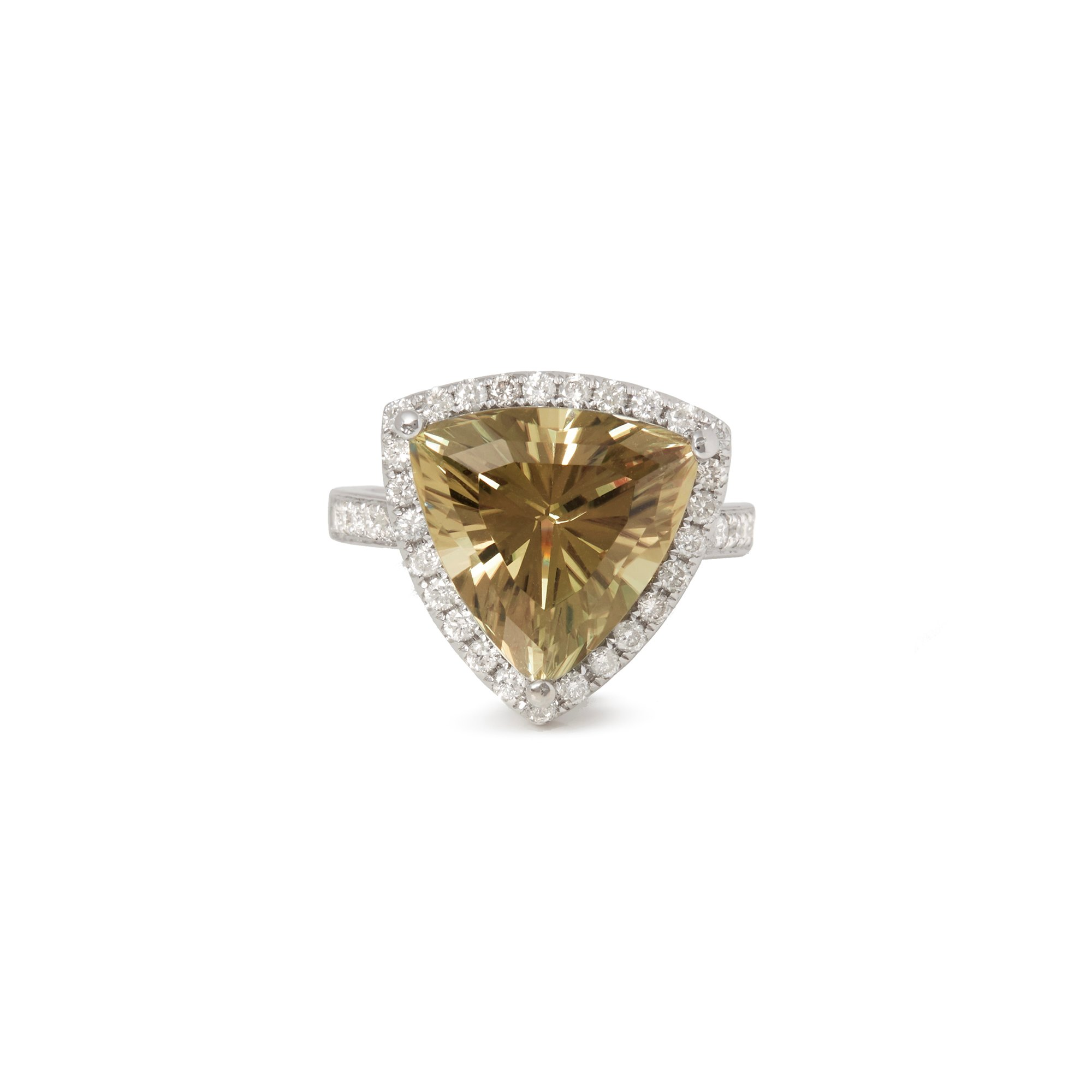 David Jerome Certified 8.28ct Untreated Turkish Trilliant Cut Zultanite and Diamond Ring