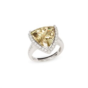 David Jerome Certified 8.28ct Untreated Turkish Trillion Cut Zultanite and Diamond 18ct gold Ring