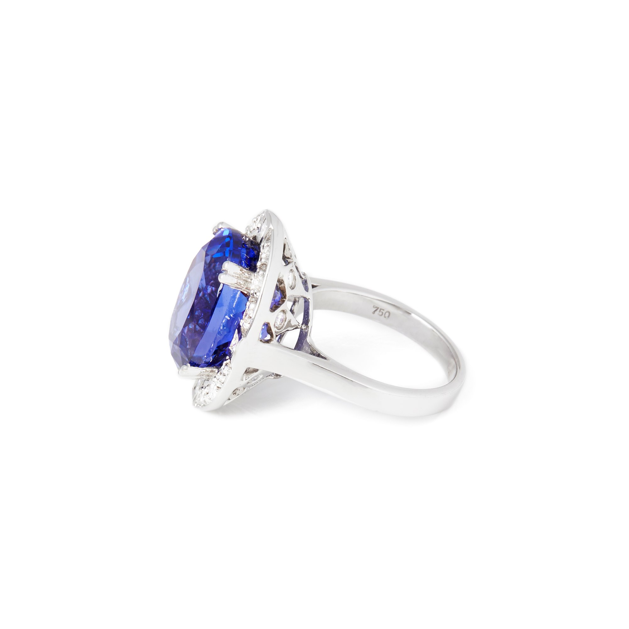 David Jerome Certified 14.35ct Untreated Oval Cut Tanzanite and Diamond Ring