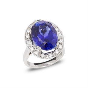 David Jerome Certified 14.35ct Untreated Oval Cut Tanzanite and Diamond Ring