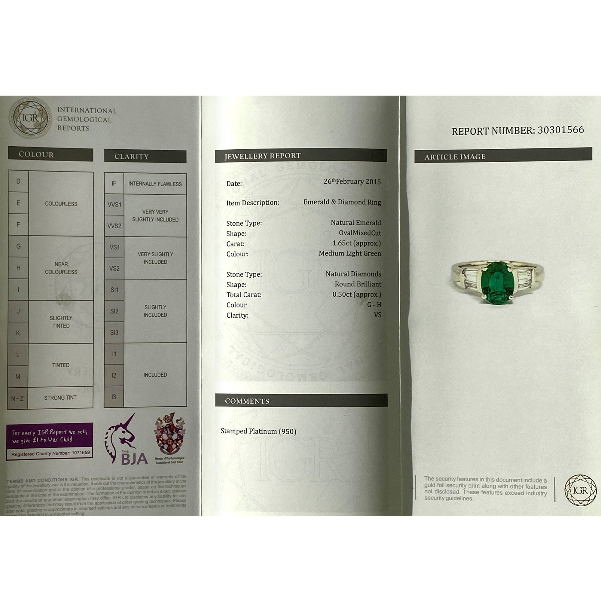 David Jerome Certified 1.65ct Untreated Zambian Oval Cut Emerald and Diamond Platinum Ring