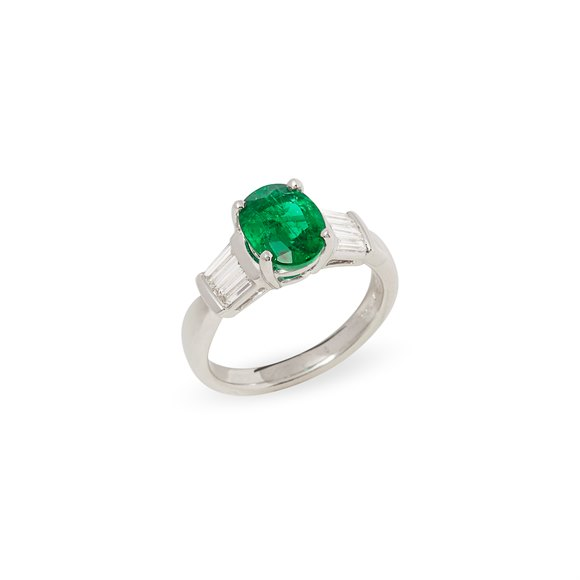 David Jerome Certified 1.65ct Untreated Zambian Oval Cut Emerald and Diamond Ring