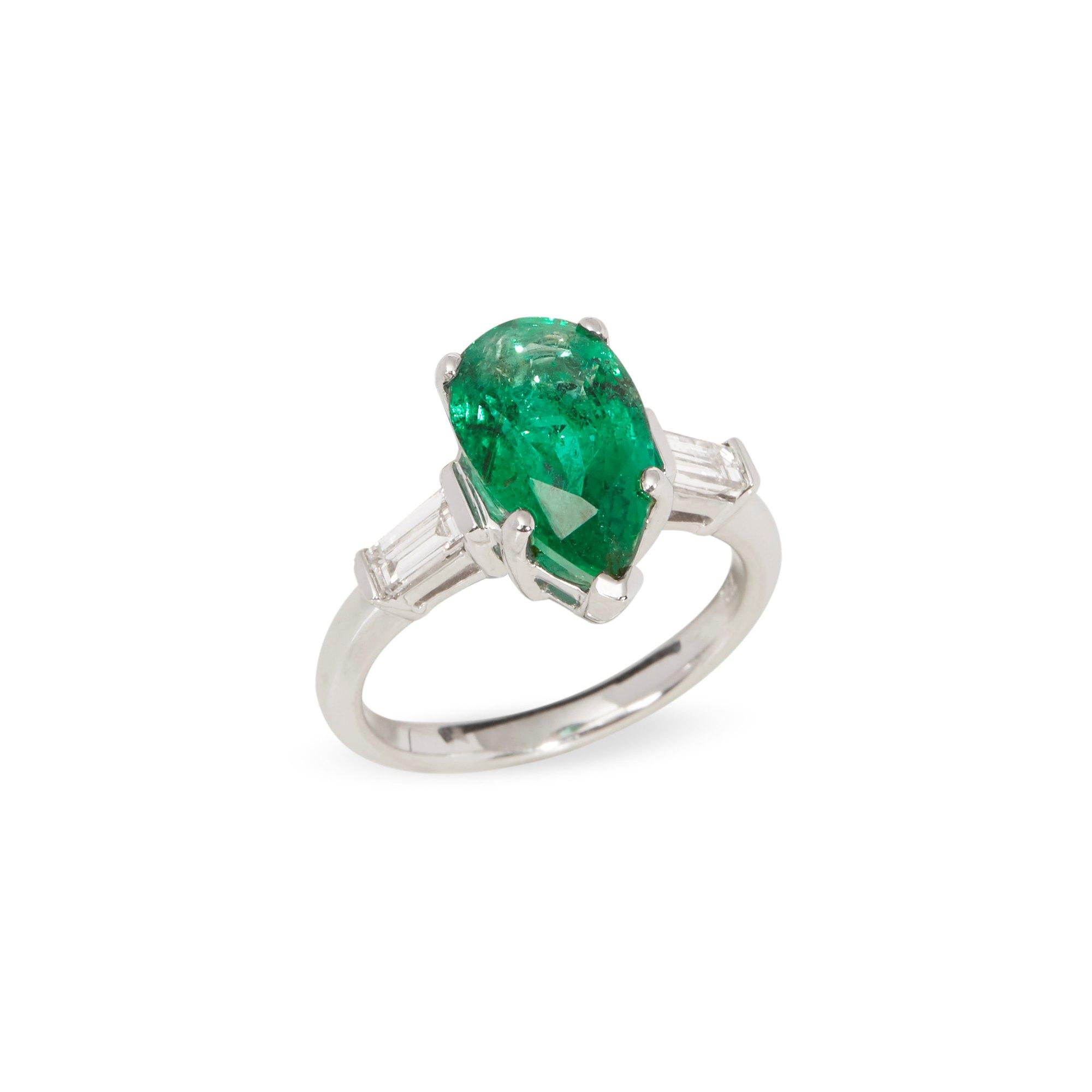 David Jerome Certified 3.45ct Untreated Brazilian Pear Cut Emerald and Diamond 18ct gold Ring