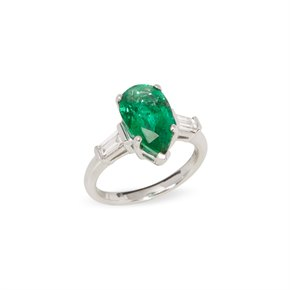 David Jerome Certified 3.45ct Untreated Brazilian Pear Cut Emerald and Diamond Ring