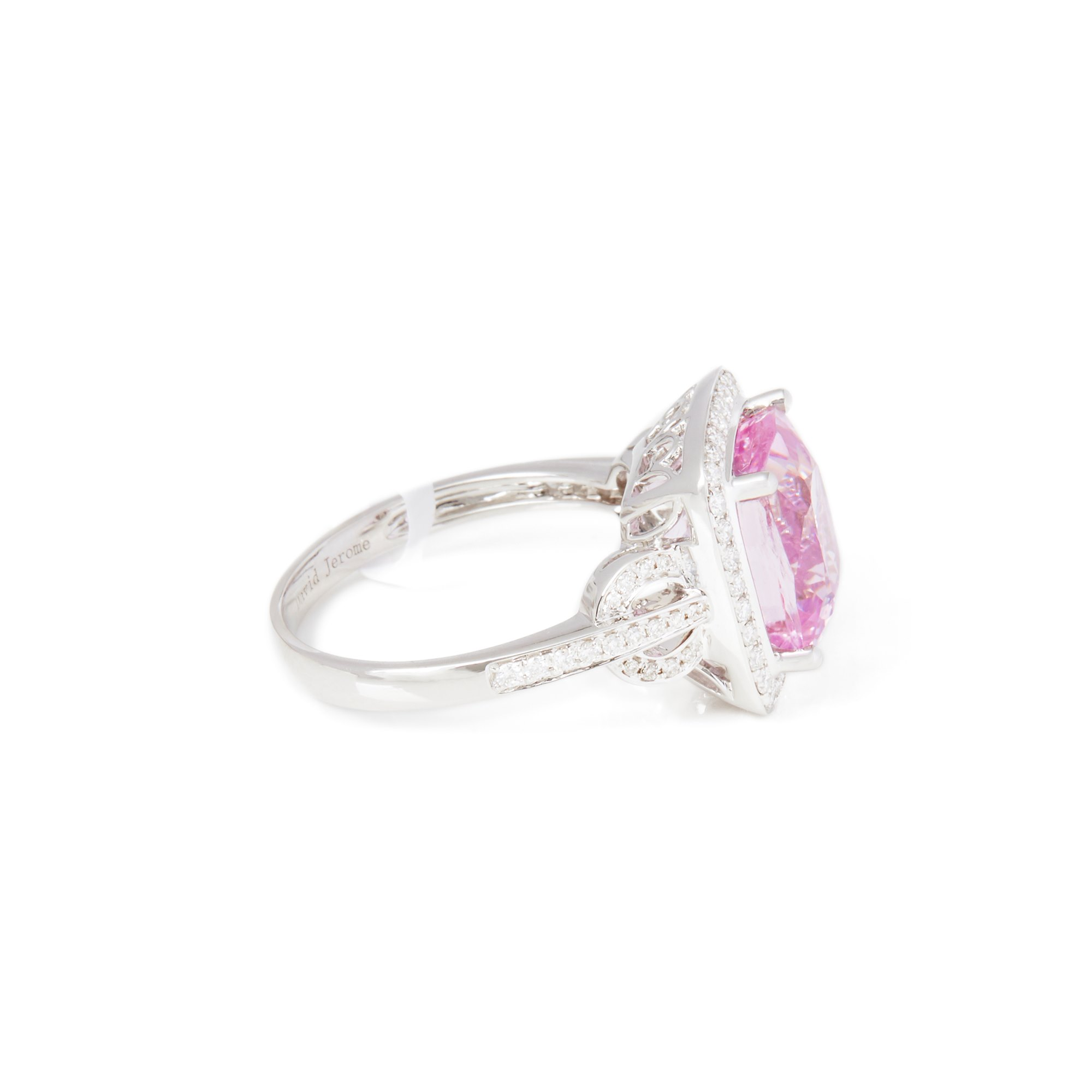 David Jerome Certified 5.69ct Cushion Cut Kunzite and Diamond 18ct gold Ring