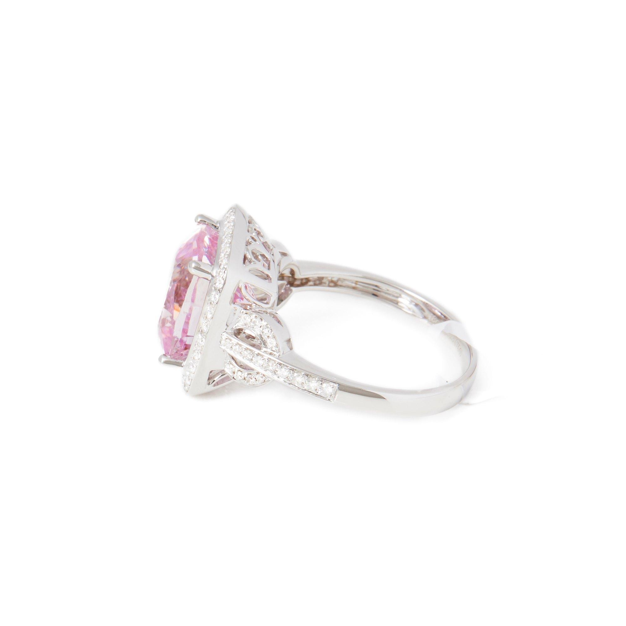 David Jerome Certified 5.69ct Cushion Cut Kunzite and Diamond 18ct gold Ring
