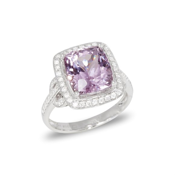 David Jerome Certified 5.69 Untreated Cushion Cut Kunzite and Diamond Ring