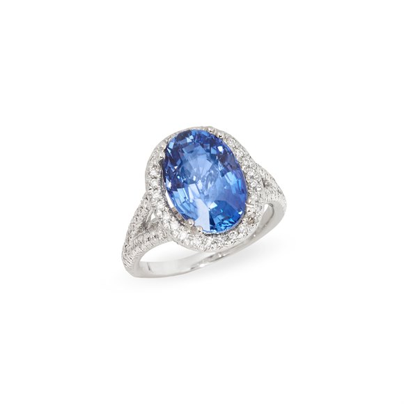 David Jerome Certified 7.55ct Sri Lankan Oval Cut Sapphire and Diamond Ring