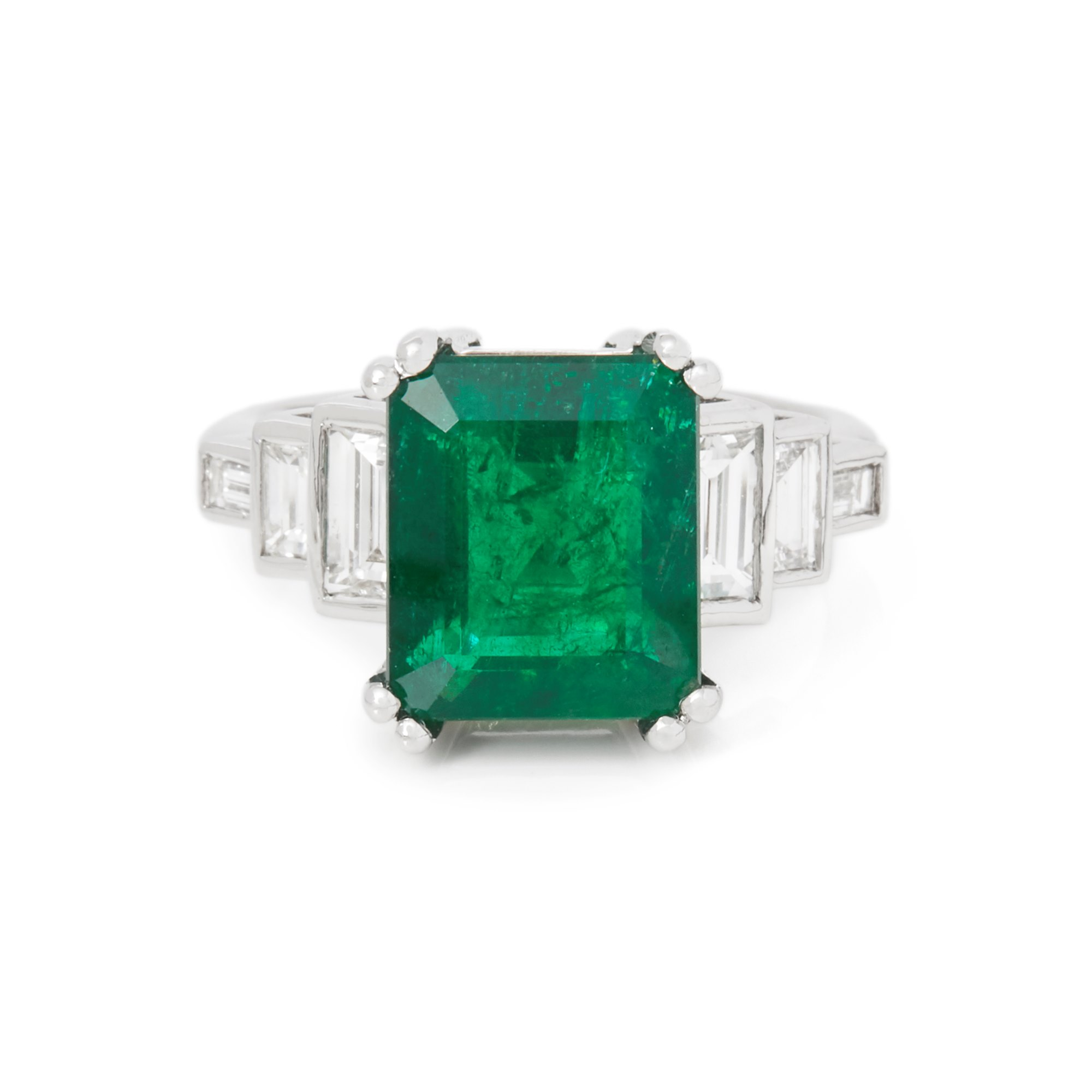 David Jerome Certified 4.8ct Untreated Columbian Emerald Cut Emerald and Diamond 18ct gold Ring