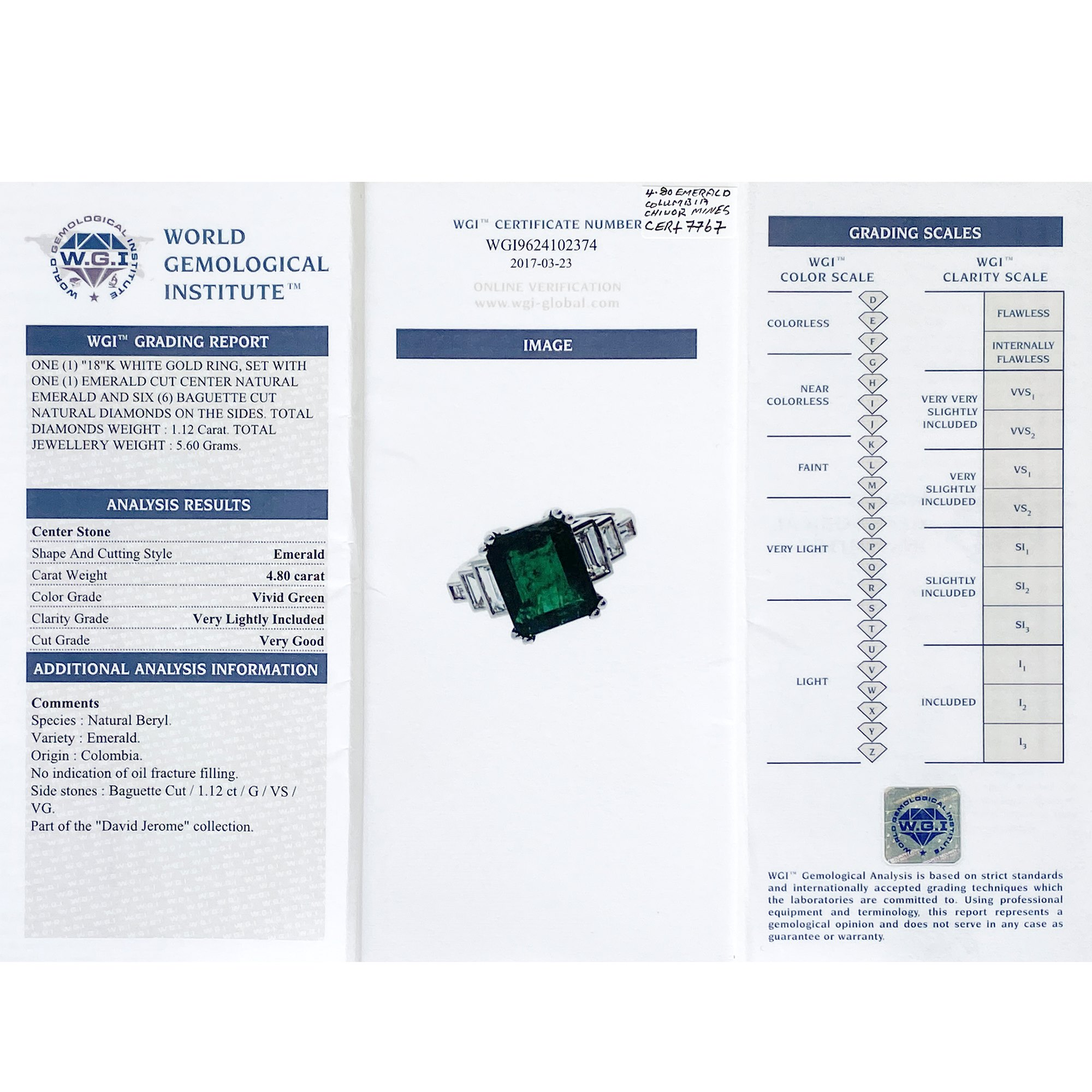 David Jerome Certified 4.8ct Untreated Colombian Emerald Cut Emerald and Diamond 18ct gold Ring