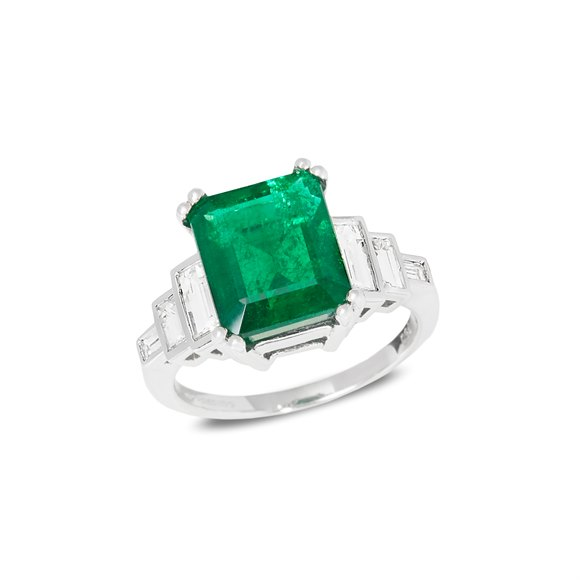 David Jerome Certified 4.80ct Untreated Columbian Square Emerald Cut Emerald and Diamond Ring