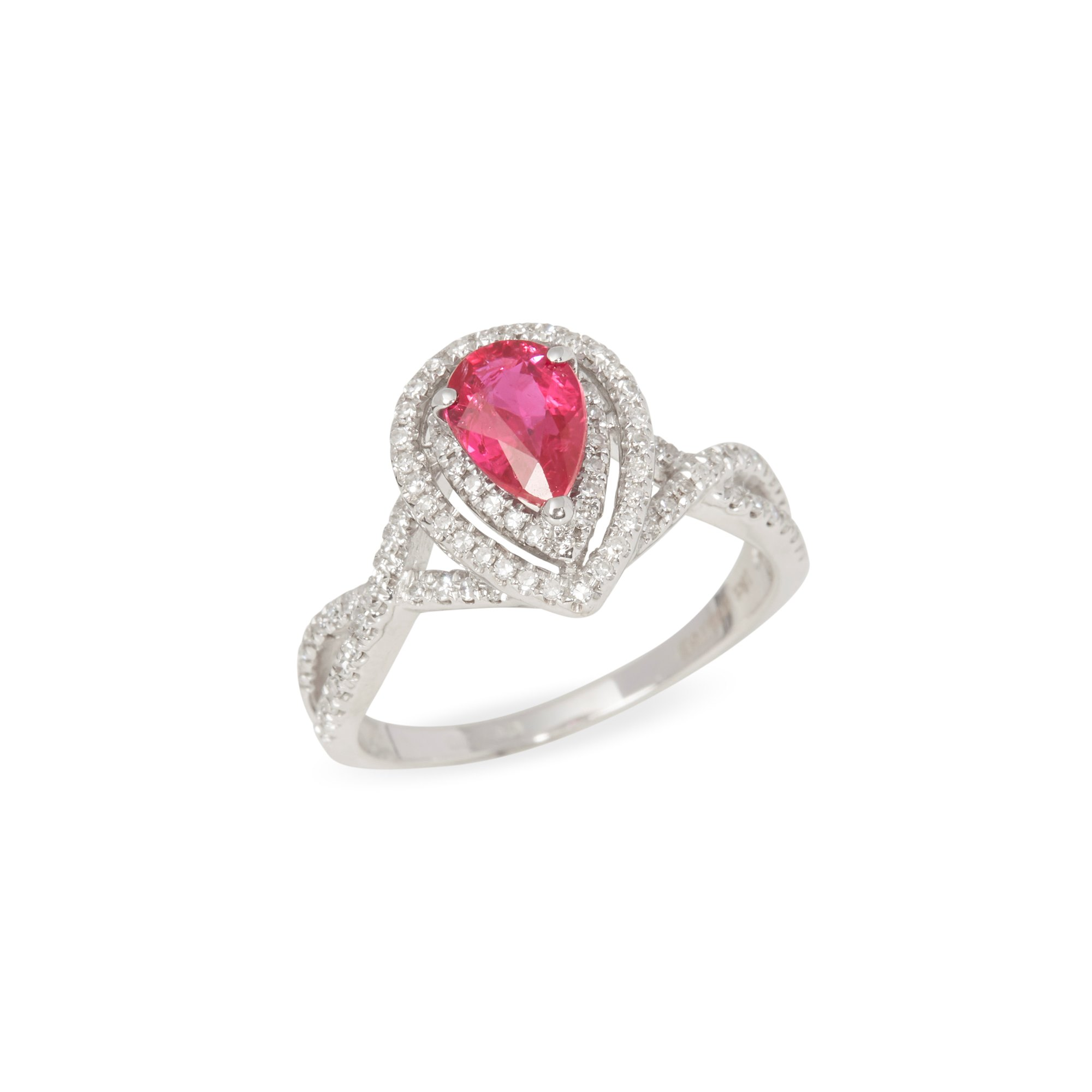 David Jerome Certified 1.02ct Untreated Burmese Pear Cut Ruby and Diamond 18ct gold Ring