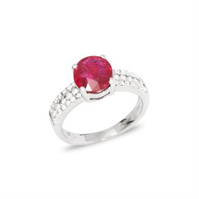 David Jerome Certified 2.03ct Untreated Unheated Round Cut Ruby and Diamond 18ct gold Ring