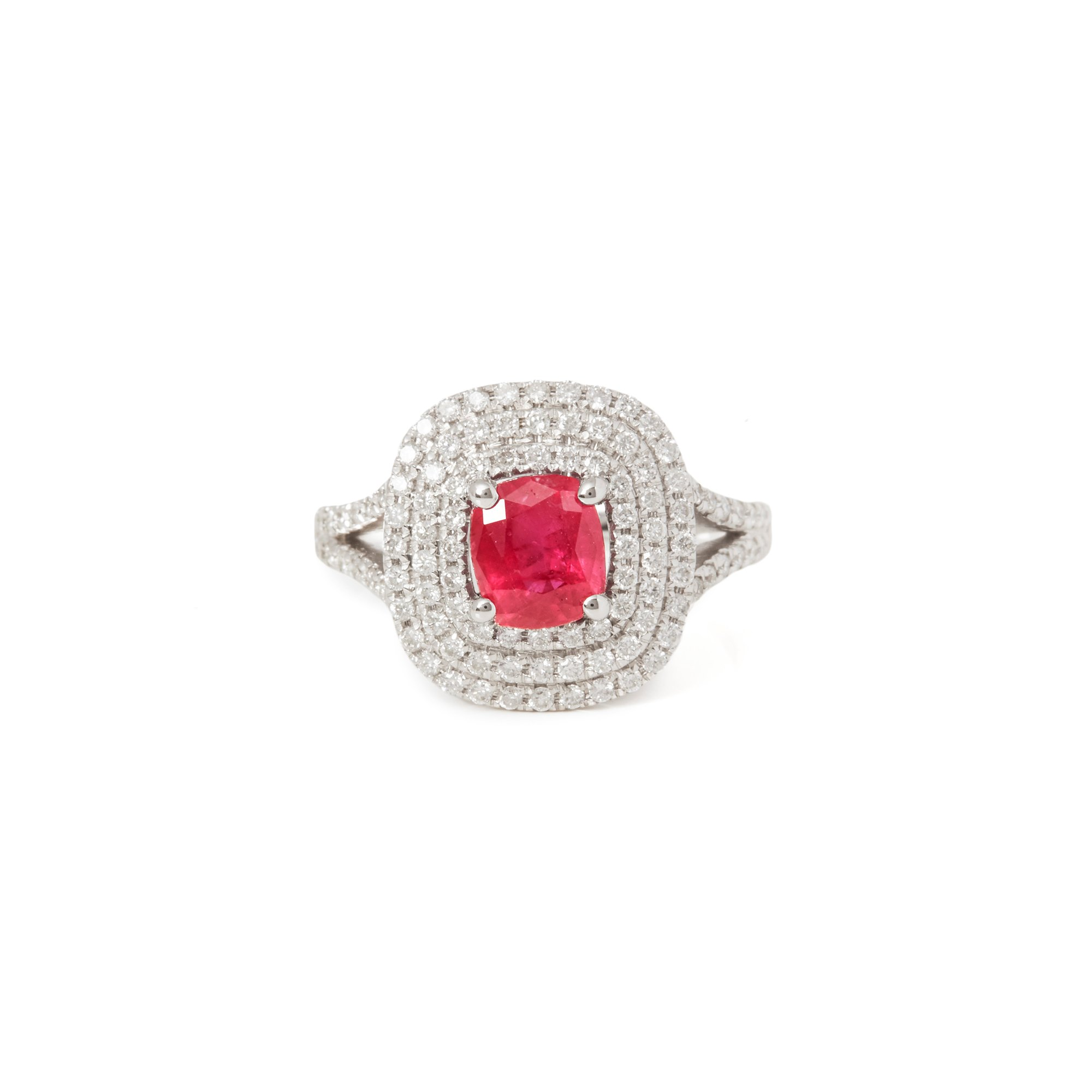 David Jerome Certified 1.50ct Untreated Cushion Cut Ruby and Diamond Ring