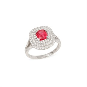 David Jerome Certified 1.5ct Untreated Cushion Cut Ruby and Diamond 18ct gold Ring