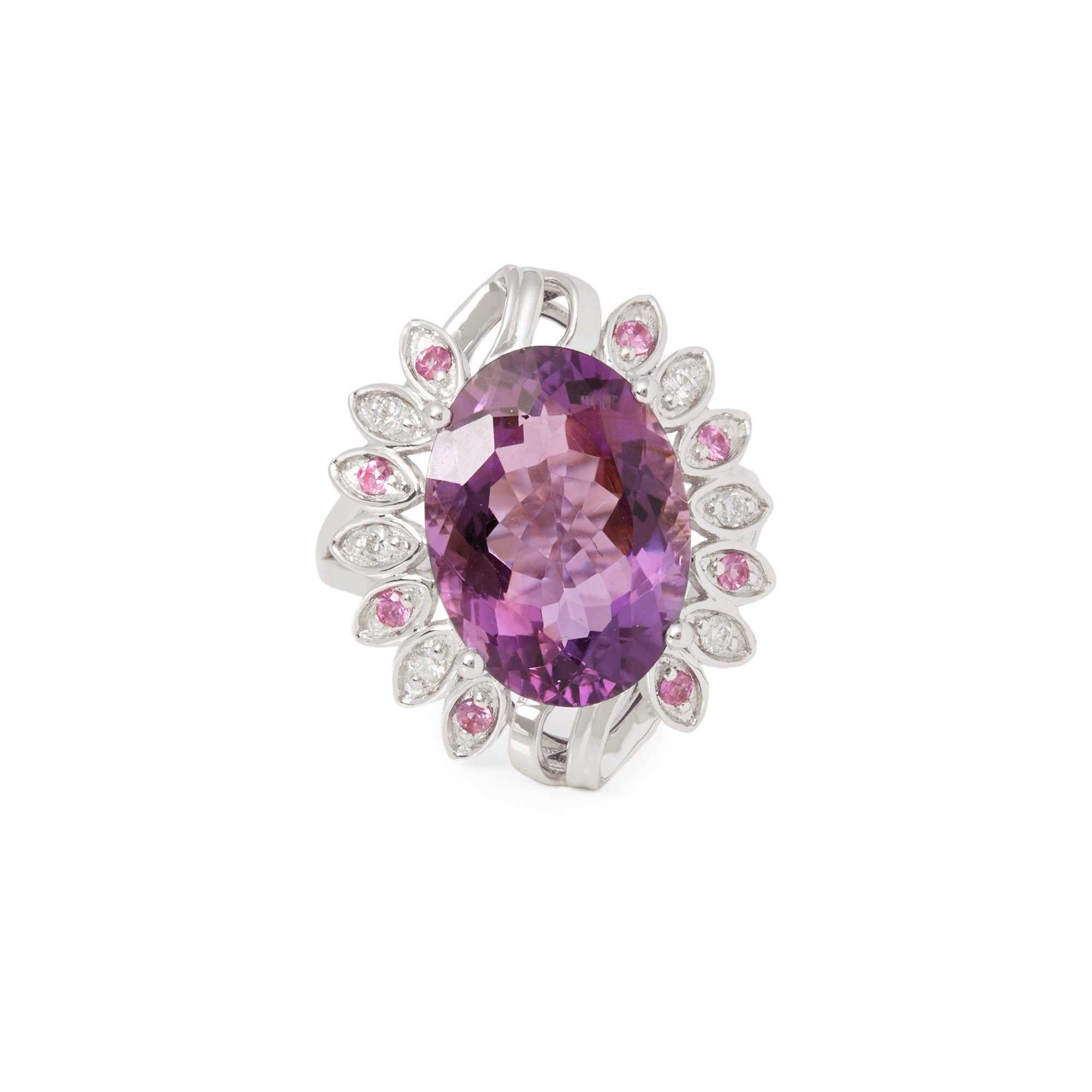 David Jerome Certified 7.07ct Untreated Russian Oval Cut Amethyst and Diamond 18ct gold Ring