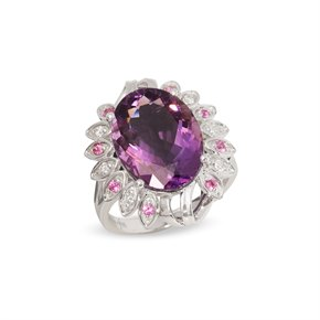 David Jerome Certified 7.07ct Untreated Russian Oval Cut Amethyst and Diamond Ring