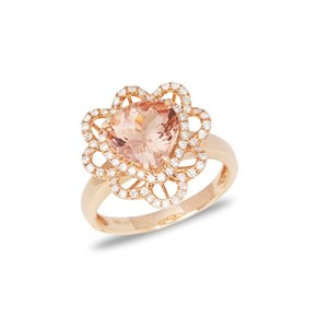 David Jerome Certified 2.49ct Brazilian Morganite and Diamond 18ct gold Ring