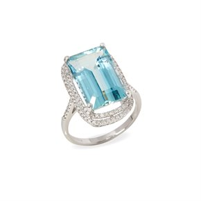 David Jerome Certified 8.71ct Brazilian Aquamarine and Diamond 18ct gold Ring