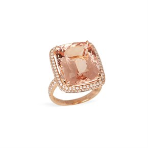 David Jerome Certified 16.71ct Cushion Cut Brazilian Morganite and Diamond 18ct Gold Ring