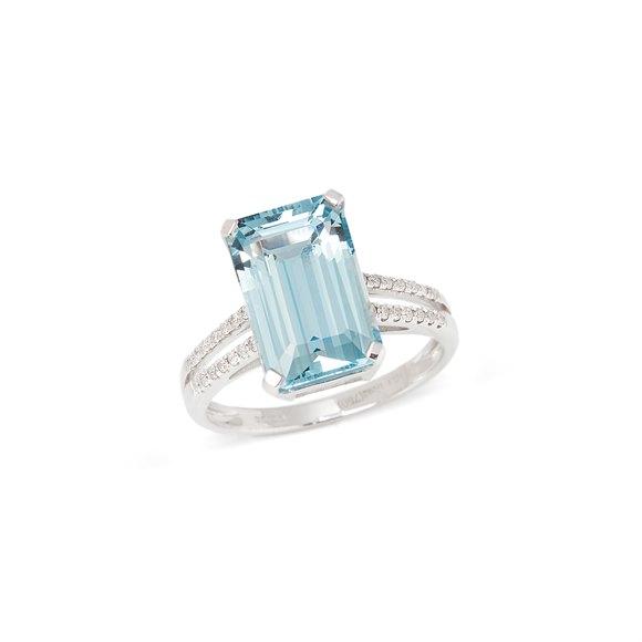 David Jerome Certified 5.22ct Emerald Cut Aquamarine and Diamond 18ct Gold Ring
