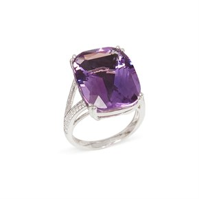 David Jerome 18k White Gold Amethyst and Diamond Ring