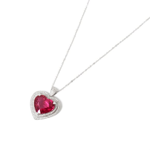 David Jerome 18k White Gold Rubellite Tourmaline and Diamond Pendant