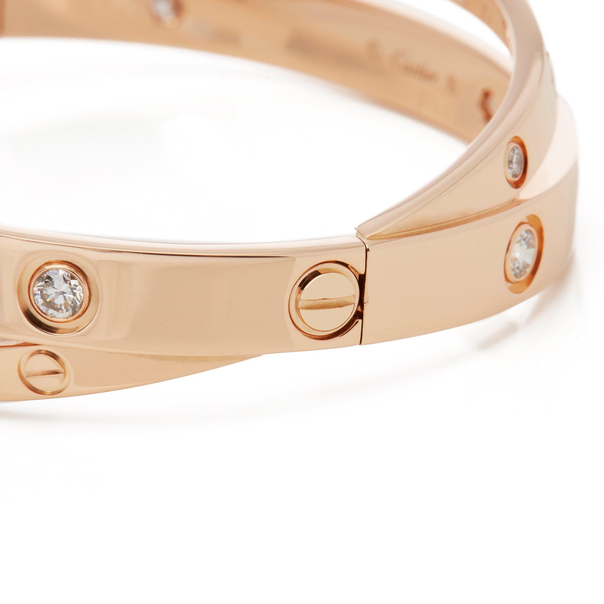 Cartier 18k Rose Gold Diamond Set Love Bangle